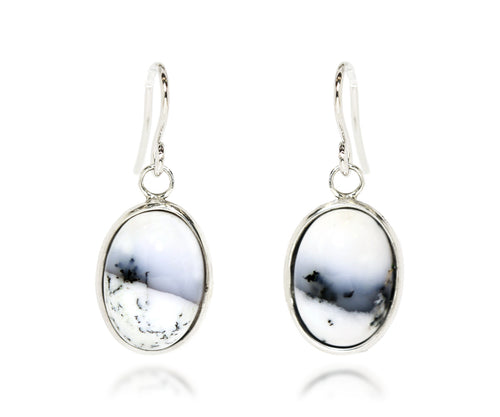 Snowy Chalcedony Oval Earrings