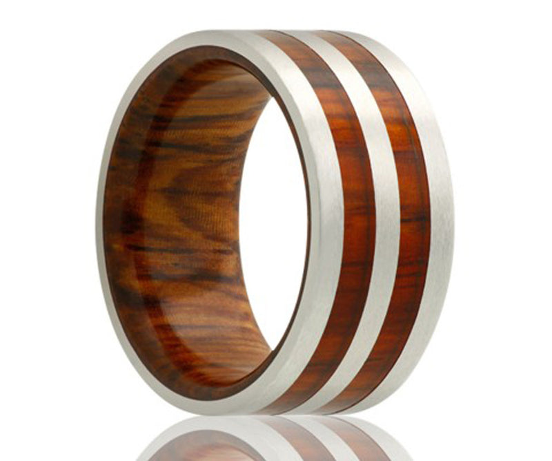 Cobalt double row cocobolo wood inlay ring