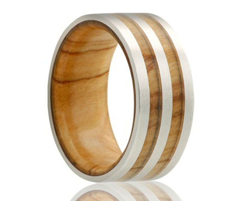 Cobalt double row olive wood inlay ring