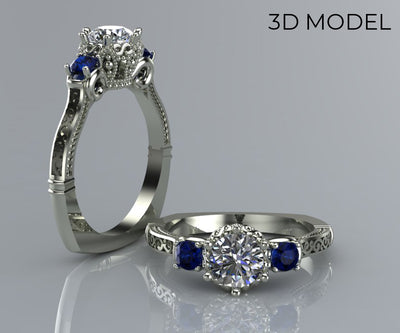 Crown Diamond and Sapphire Engagement Ring