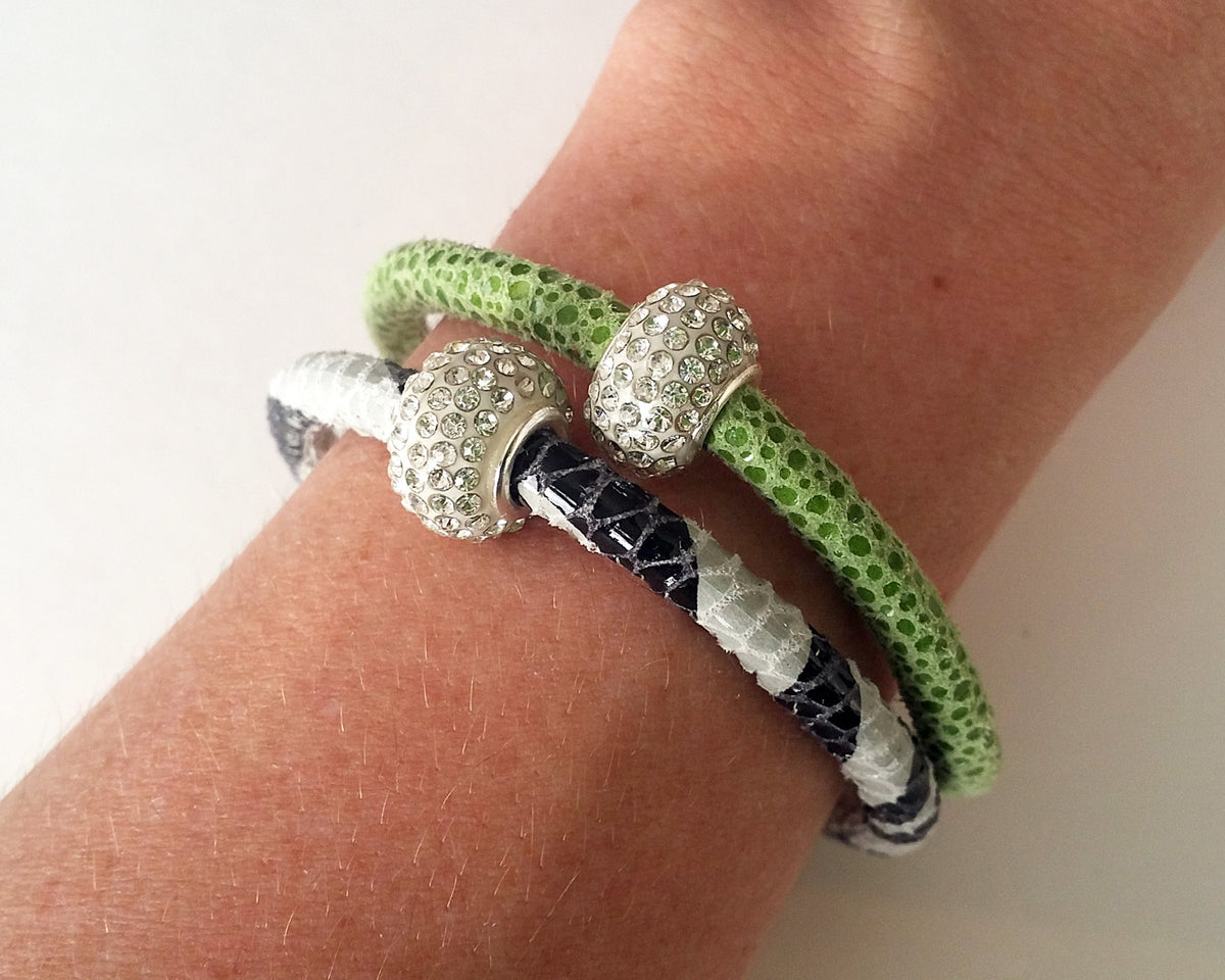 Sparkling Lime Leather Single Bracelet