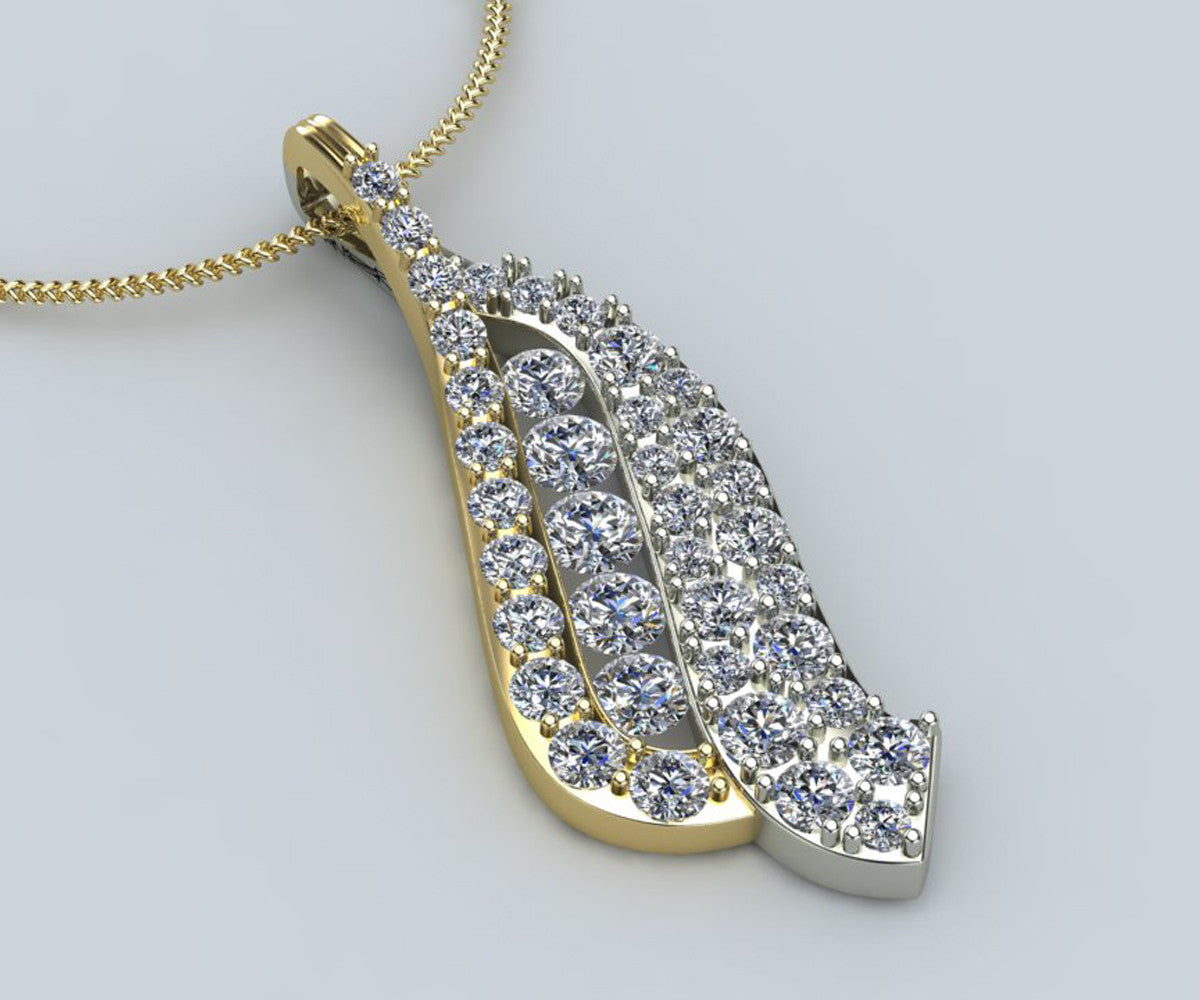 Curved Two Tone Diamond Necklace Redesigned