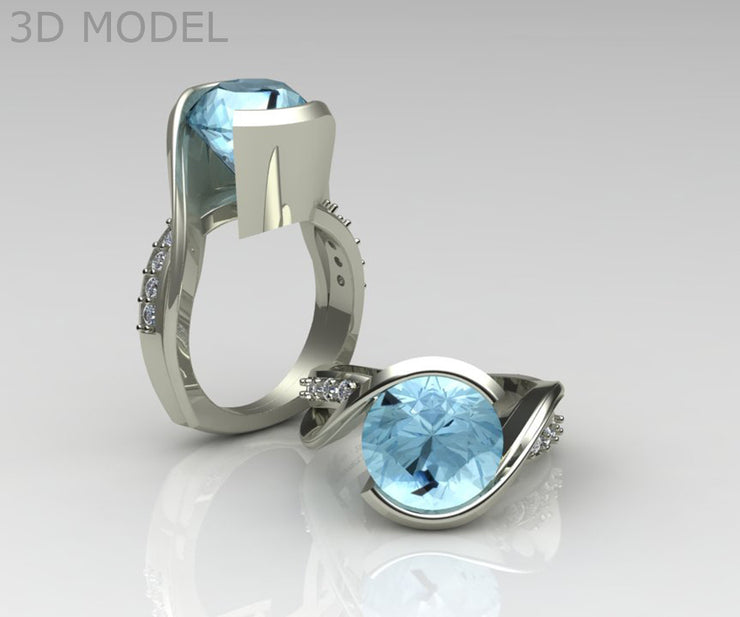 Custom Aquamarine and Diamond Bypass Ring