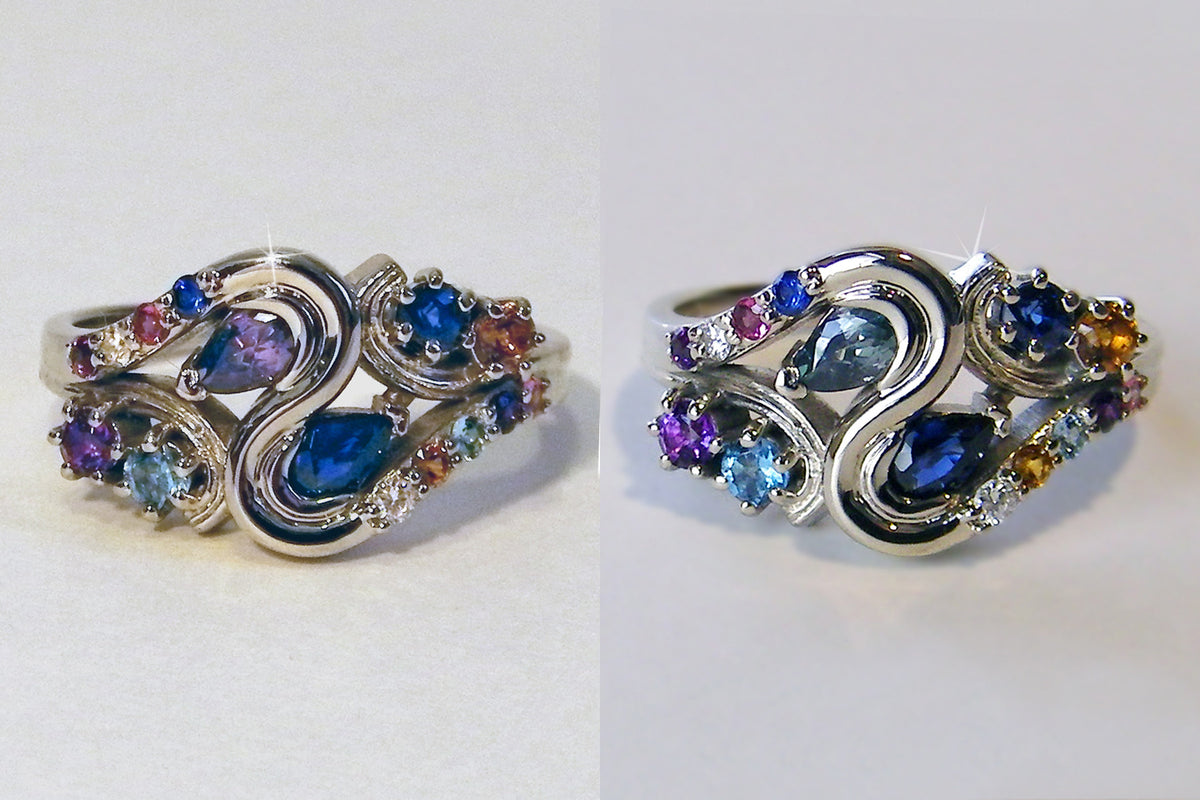Custom Colorful Birthstone Family Ring