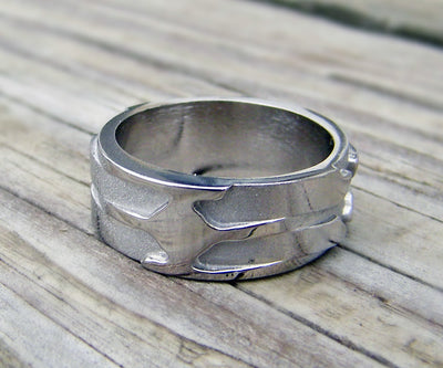 custom palladium modern 3D mens wedding ring