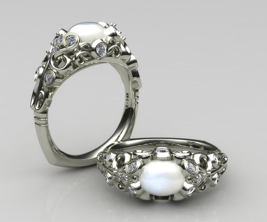 Intricate Vintage Swirl Moonstone Engagement Ring Ambrosia