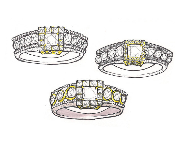 Princess Diamond Halo Wedding Ring Redesign