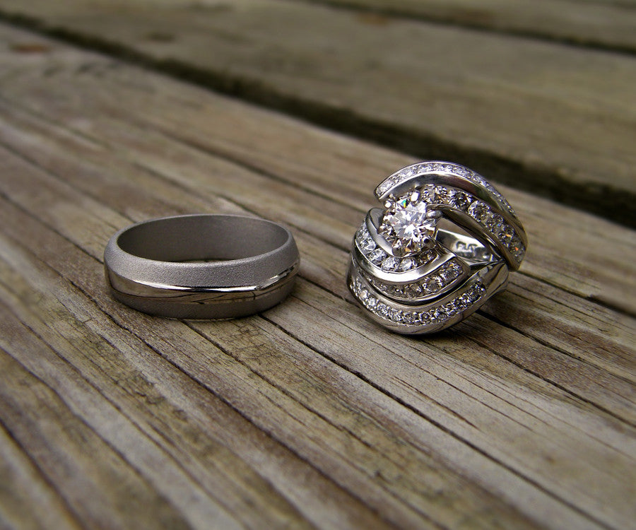 Handcrafted Matching Curved Wedding Ring
