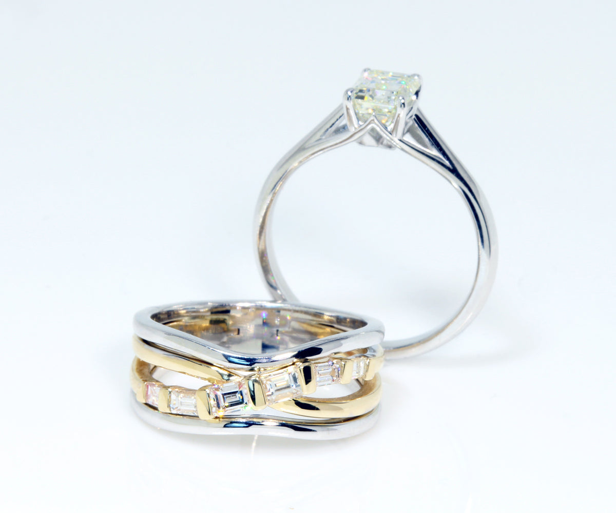 Contemporary Emerald Diamond Wedding Ring Set