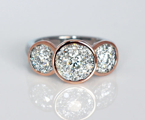 custom round rose gold bezel halo wedding ring redesign