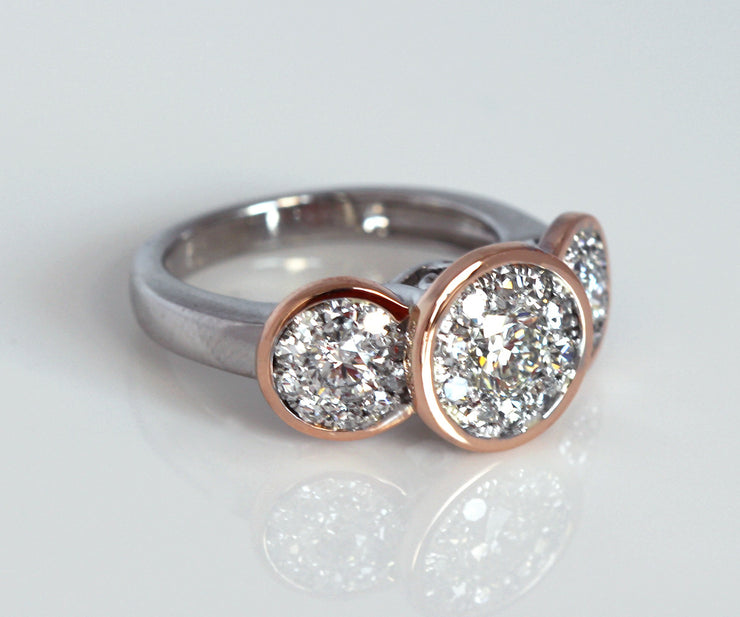 Three Bezel Halo Pink Gold Wedding Ring Redesign