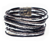 metallic sparkly black silver grey slate wide cuff leather women magnetic bracelet