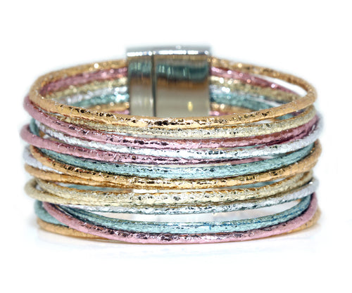 Metallic Multi-Strand Pastel Leather Bracelet