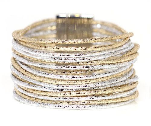 Metallic Multi-Strand Silver & Gold Leather Bracelet
