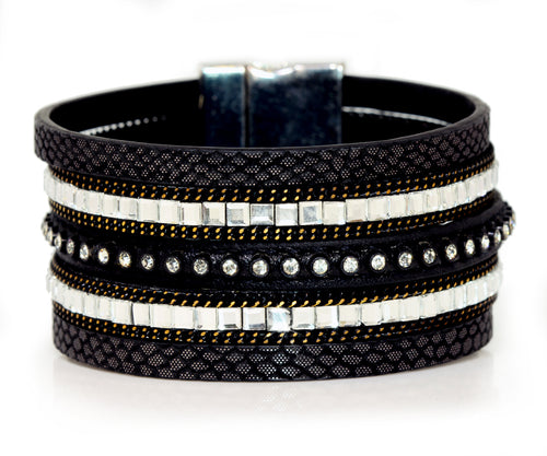 Wide Rhinestone Cuff Black Leather Bracelet
