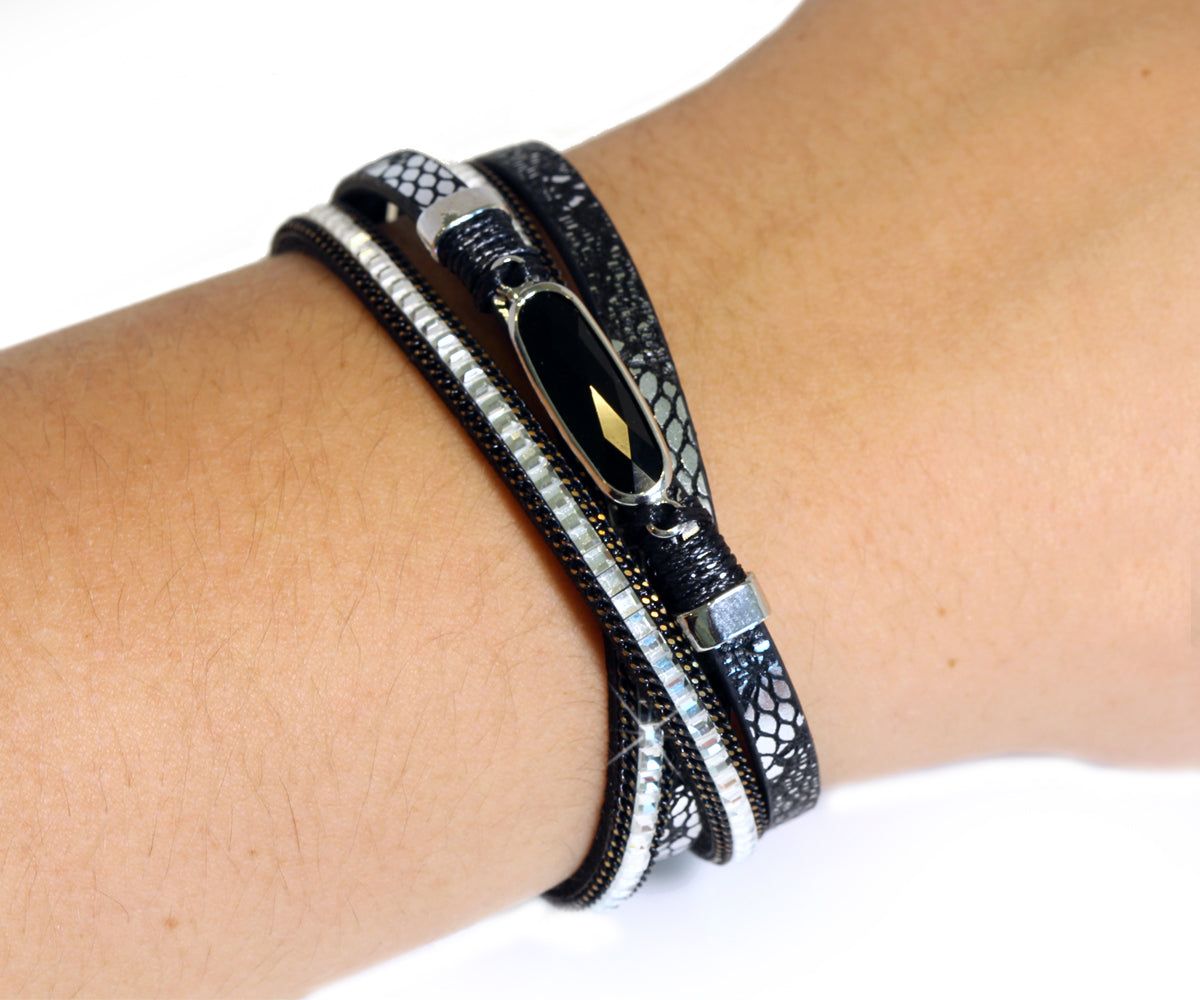 Animal Print Black Gem Sparkly Bracelet