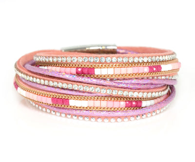 Beaded Pink Sparkly Leather Bracelet