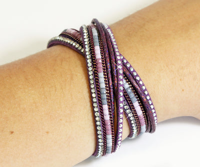 Beaded Purple Sparkly Leather Bracelet