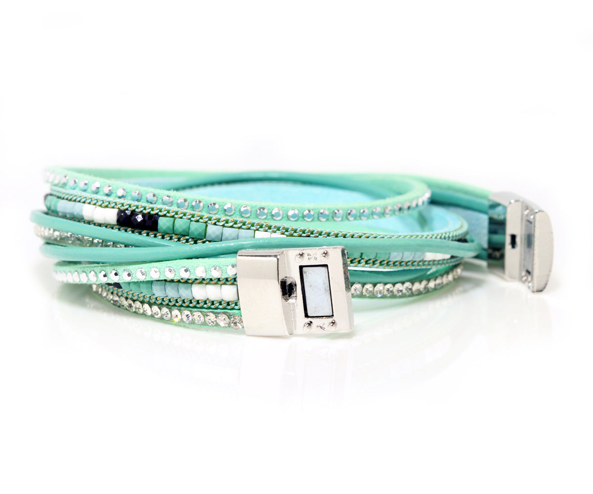Beaded Teal Sparkly Leather Bracelet