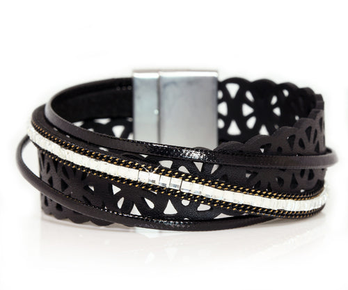 Lacey Cut Out Black Wrap Bracelet