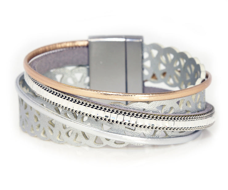 Lacey Cut Out Silver Wrap Bracelet
