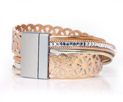 Lacey Cut Out Rose Gold Wrap Bracelet