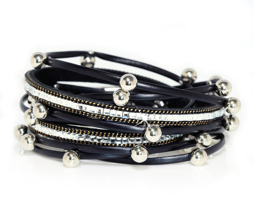 Beaded Black Double Wrap Bracelet