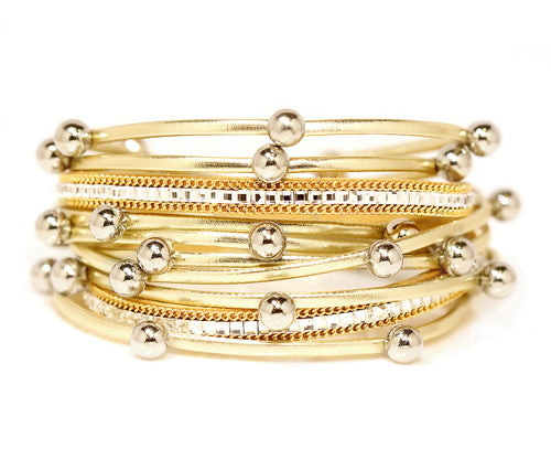 Beaded Gold Double Wrap Bracelet