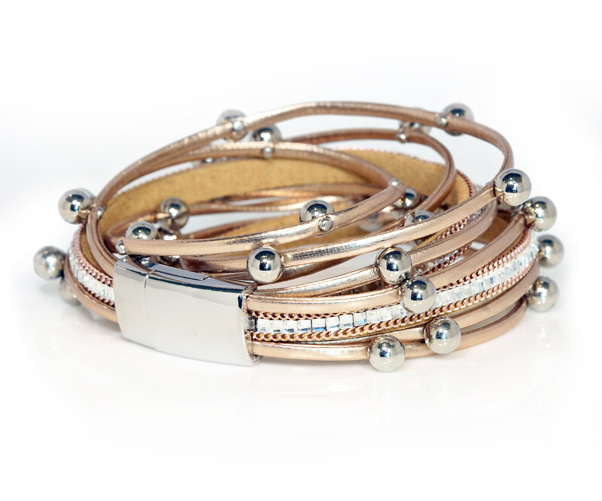 Beaded Rose Gold Double Wrap Bracelet