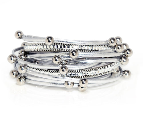 Beaded Silver Double Wrap Bracelet