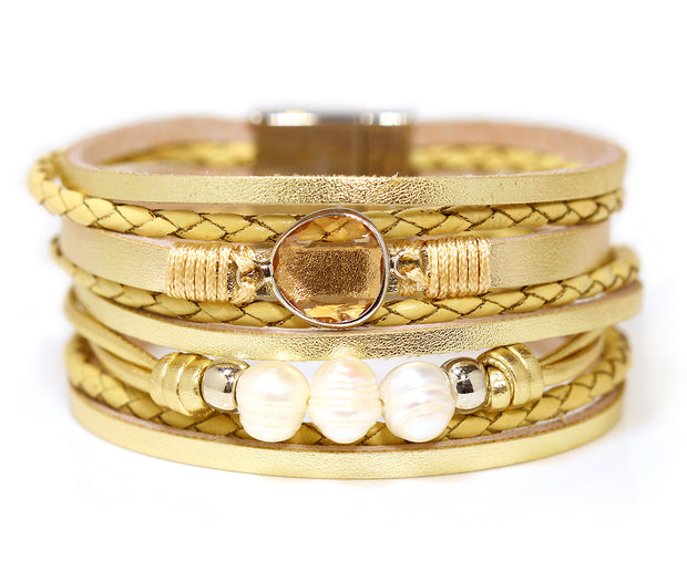 Layered Pearl Gold Leather Bracelet