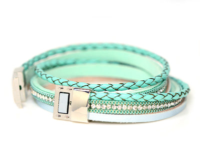 Braided Mint Sparkly Bracelet