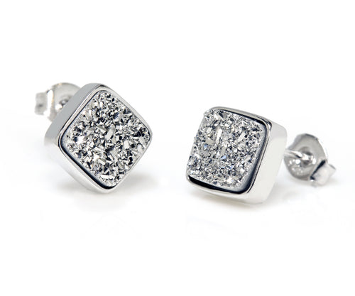 diamond square stud platinum fashion druzy earrings sterling silver