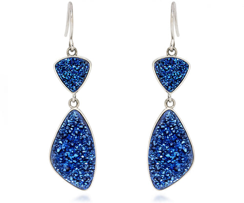 Double Drop Trillion Blue Druzy Earrings