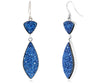Double Drop Marquise Blue Druzy Earrings