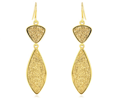 large dangle statement druzy drusy women sparkle 18k yellow gold earrings
