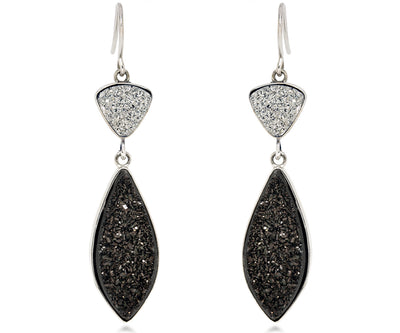 large double drop dangle druzy black and platinum silver drusy earrings