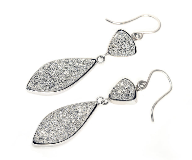 Double Drop Marquise Platinum Druzy Earrings
