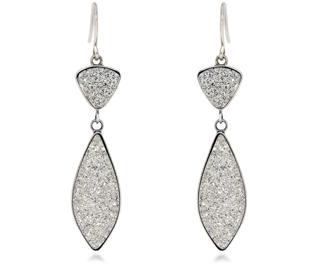 double dangle marquise fashion statement platinum druzy earrings