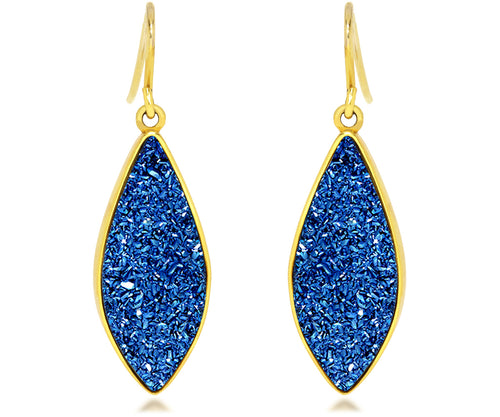 ambrosia marquise sapphire blue druzy dangle 14k vermeil drusy earrings