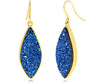 Large Marquise Blue Druzy Earrings, 14K Gold