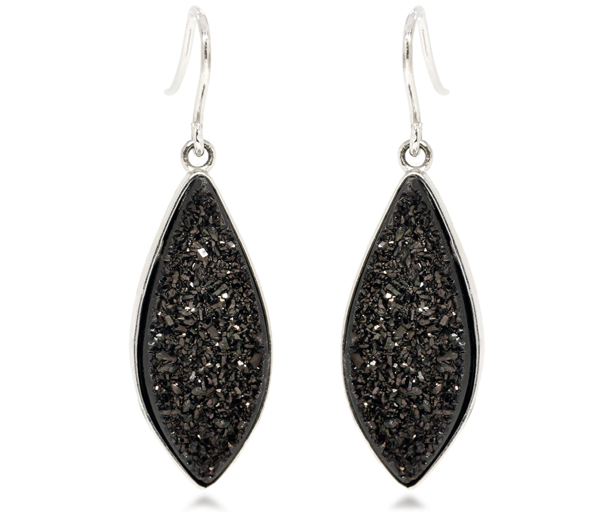ambrosia large marquise black druzy drusy dangle sparkly earrings