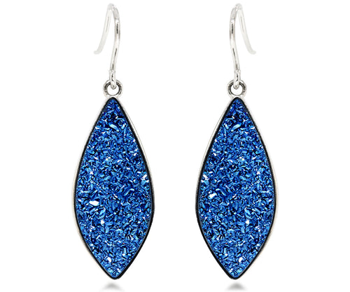ambrosia large marquise sapphire blue druzy silver drusy earrings