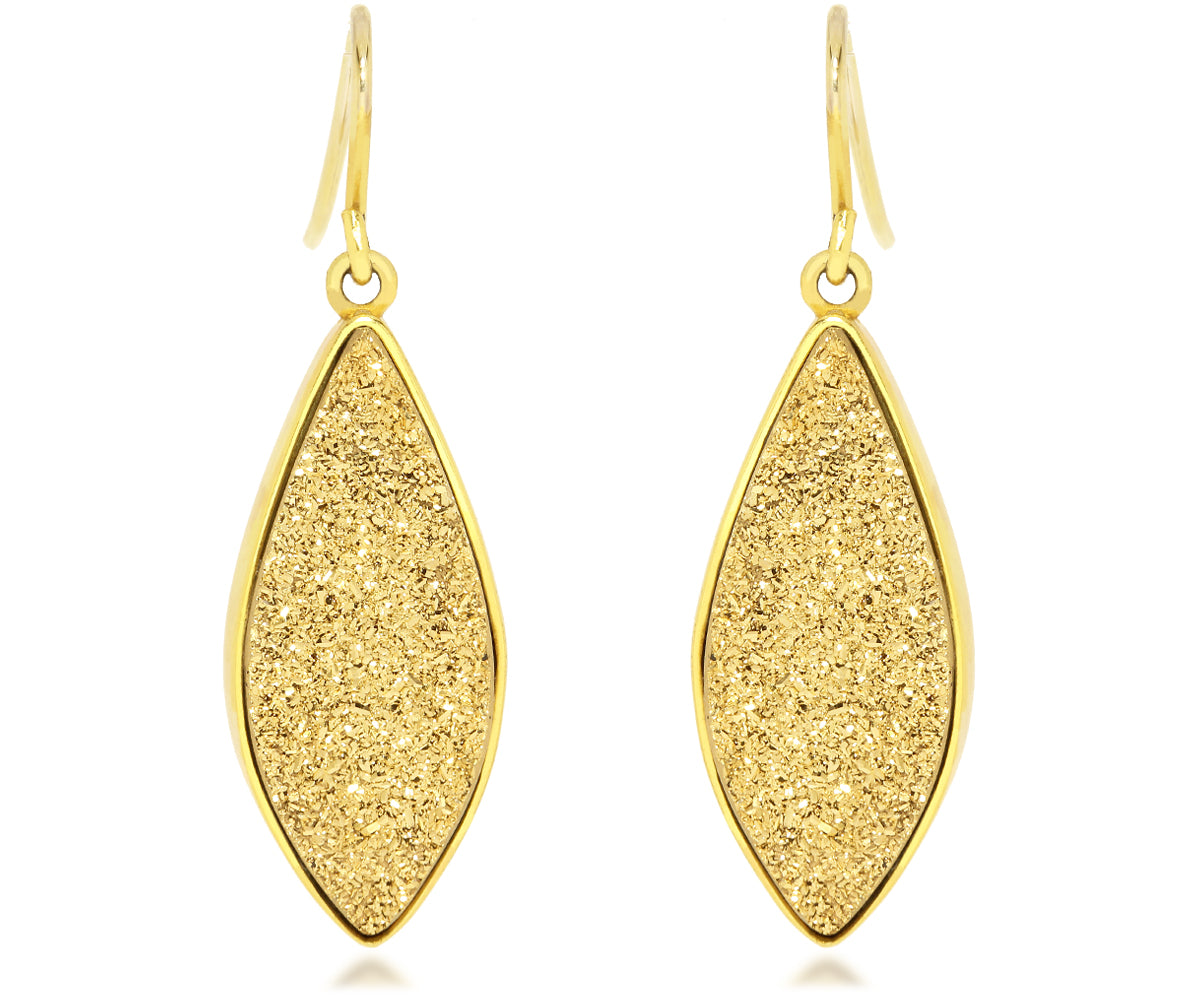 Large Marquise 18K Gold Druzy Earrings