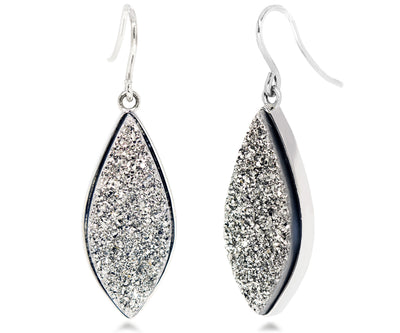 Large Marquise Platinum Druzy Earrings