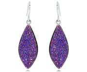 large dangle statement druzy purple rainbow women sparkle 14k yellow gold earrings