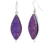 Large Marquise Purple Rainbow Druzy Earrings