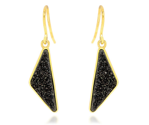 black quartz druzy drusy 14k yellow gold vermeil dangle sparkle earrings