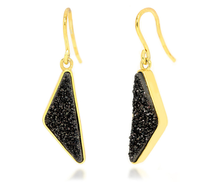 Triangle Black Druzy 14K Vermeil Earrings