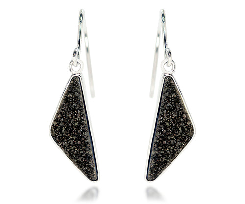 elongated triangle black quartz drusy dangle sparkle druzy silver earrings